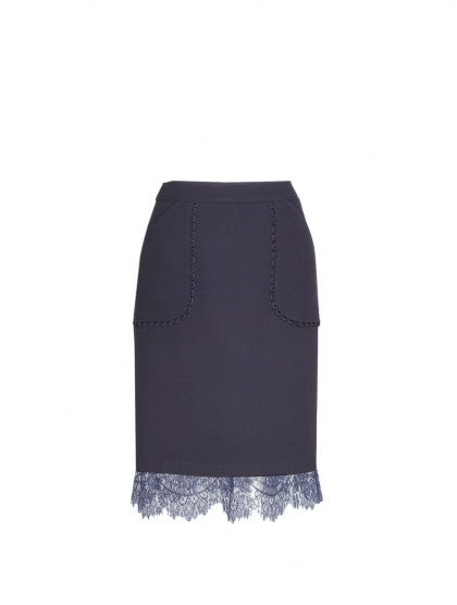 CREPE AND LACE PENCIL SKIRT