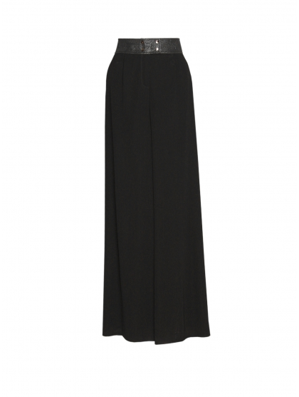 JERSEY AND BROCADE PALAZZO TROUSERS