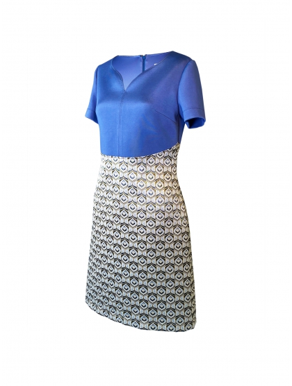 TECHNICAL JERSEY & BROCADE 60' DRESS