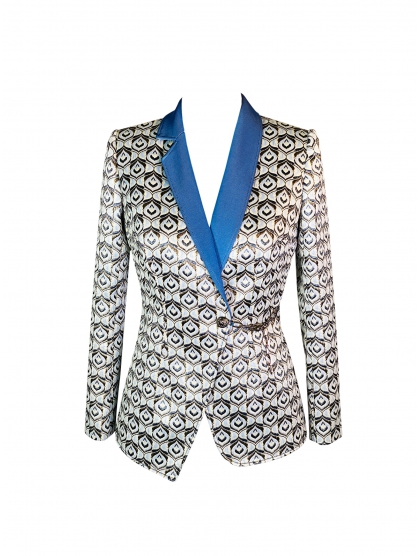 TECHNICAL JERSEY AND BROCADE ASYMMETRICAL BLAZER