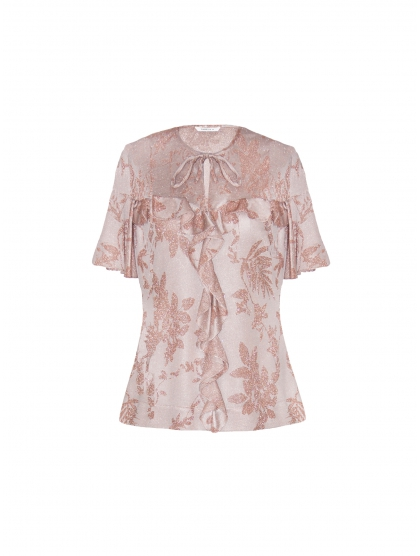 LUREX JERSEY WITH RUFFLE TOP