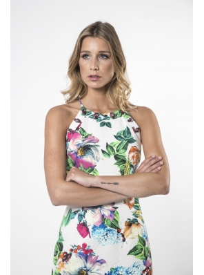 BROCADO FLOWER DRESS