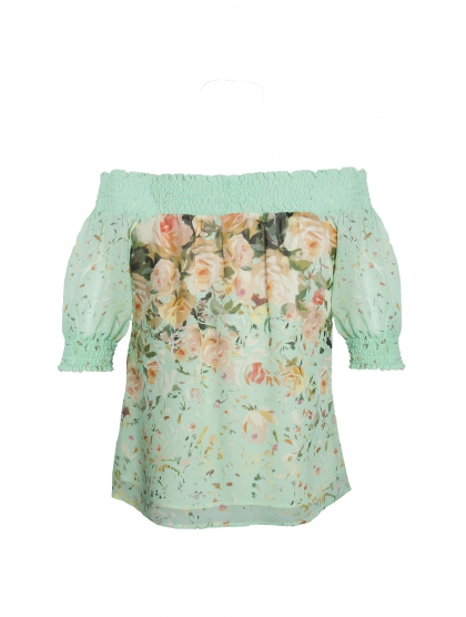 BOAT GEORGETTE FLOWER TOP