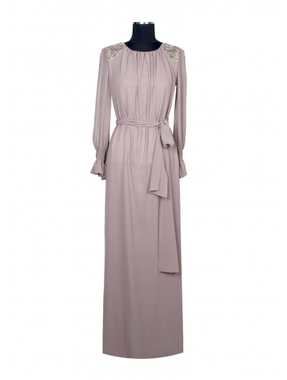 GEORGETTE LONG DRESS WITH CRYSTAL SHOULDER PADS