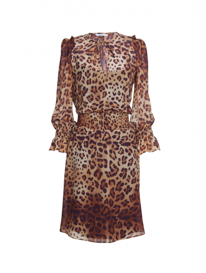 GEORGETTE LEOPARD T-SHIRT DRESS