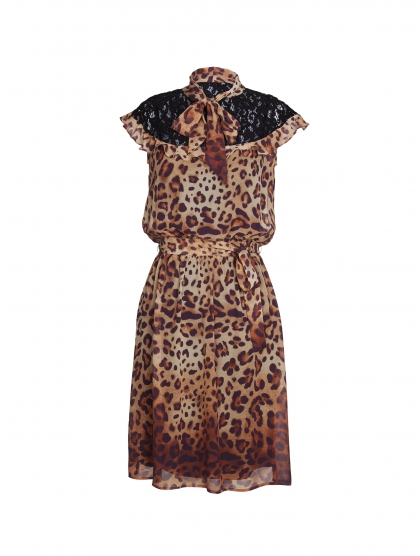 GEORGETTE LEOPARD DRESS AND LACE