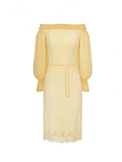 LACE AND GEORGETTE BARDOT DRESS
