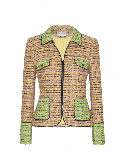 SHIRT COLLAR TWEED GALON JACKET